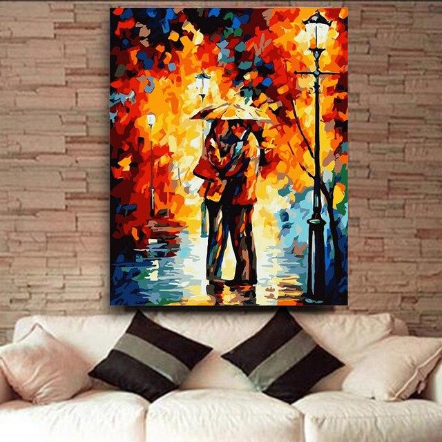 Unframed Pecinta Dalam Hujan Gambar Lukisan Dengan Angka Diy Corak