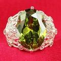 YaYI Fashion Women Jewelry Ring Oval Peridot CZ Diamond White Platinum Plated Engagement Rings wedding Rings Party Rings Gift