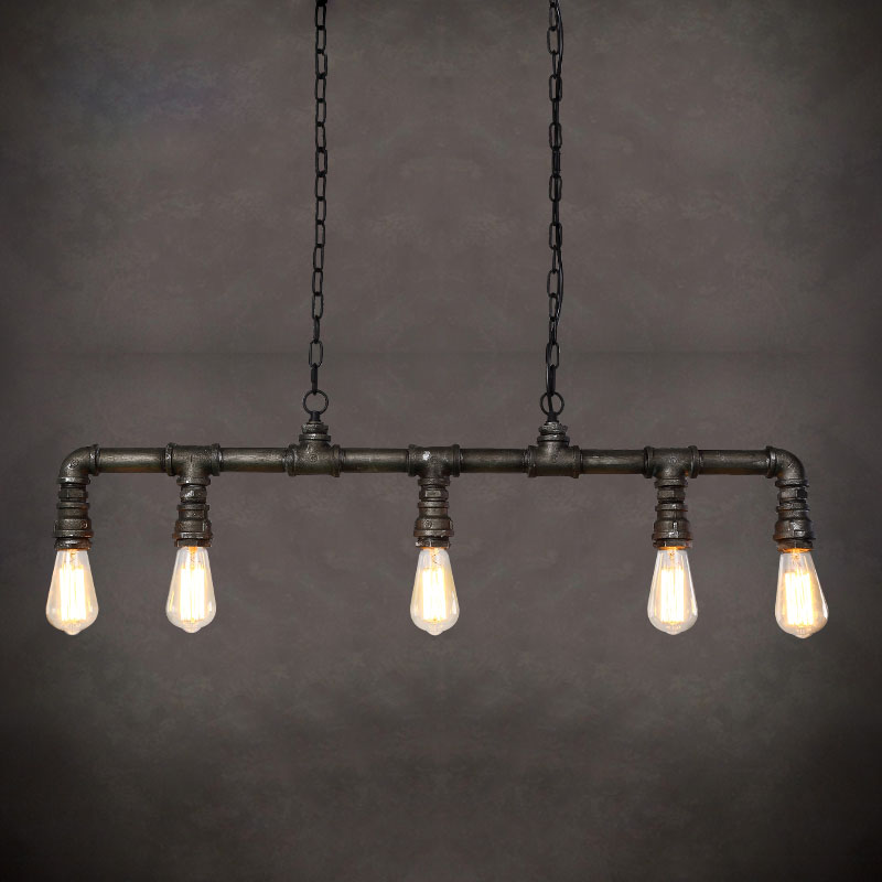 retro style loft industrial pendant lighting fixtures lampe water pipe rustic vintage lamp led. Black Bedroom Furniture Sets. Home Design Ideas