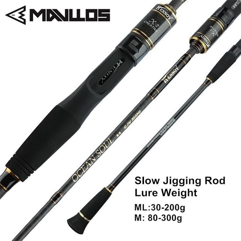 Mavllos 1.95m ML/M Tip Slow Jigging Rod Lure Weight 30-200g/80-300g 2 Section Ultralight Saltwater Fishing Casting Spinning Rod mavllos m ml slow jigging rod fishing 1 83m 2 sections lure weight 30 300g ultralight carbon fiber fishing casting spinning rod