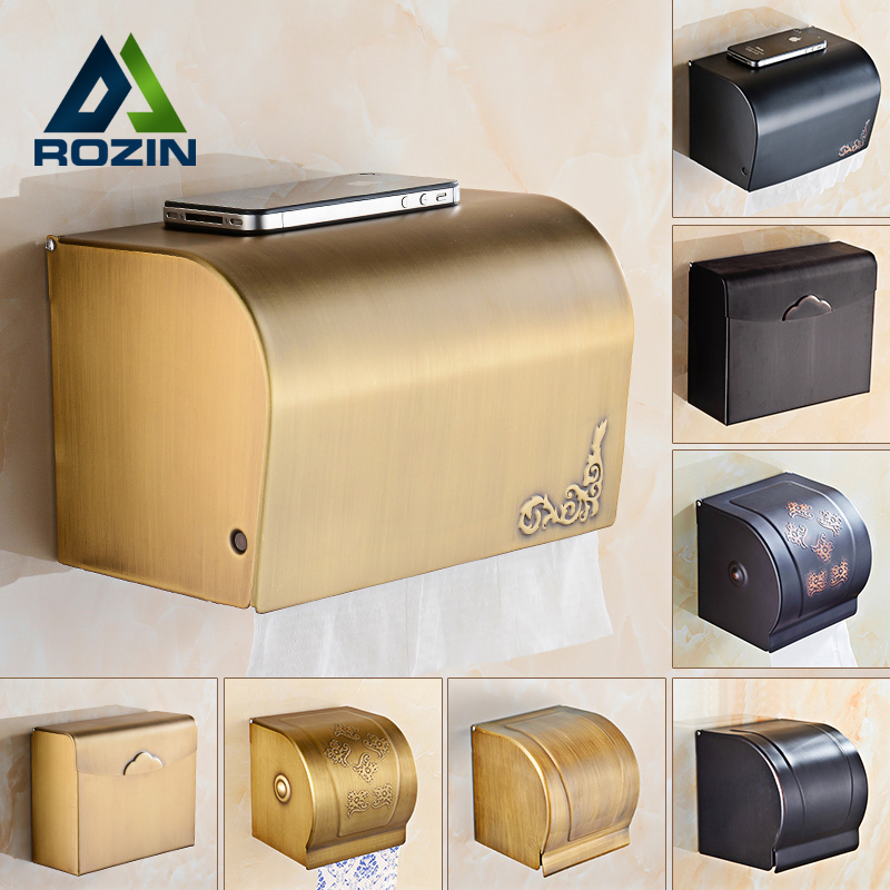 Free Shipping Antique Toilet Paper Holder Wall Mounted Waterproof Roll Paper Tissue Box Brass Bathroom Accessories free shipping jade & brass golden paper box roll holder toilet gold paper holder tissue box bathroom accessories page 5