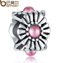 Original Big Hole 925 Silver Pink Crystal Charm Ball Fit Pandora Bracelet Necklace Authentic Accessories