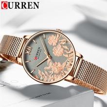 CURREN relojes para mujer, de pulsera, de oro, resistente al agua, de pulsera clásica de acero inoxidable, 9065