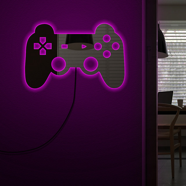 Gamepad Controller Wall Mirror With LED Backlight Joystick Game Decorative Mirror Video Game Retro Arcade Home Decor Gamers Gift 1