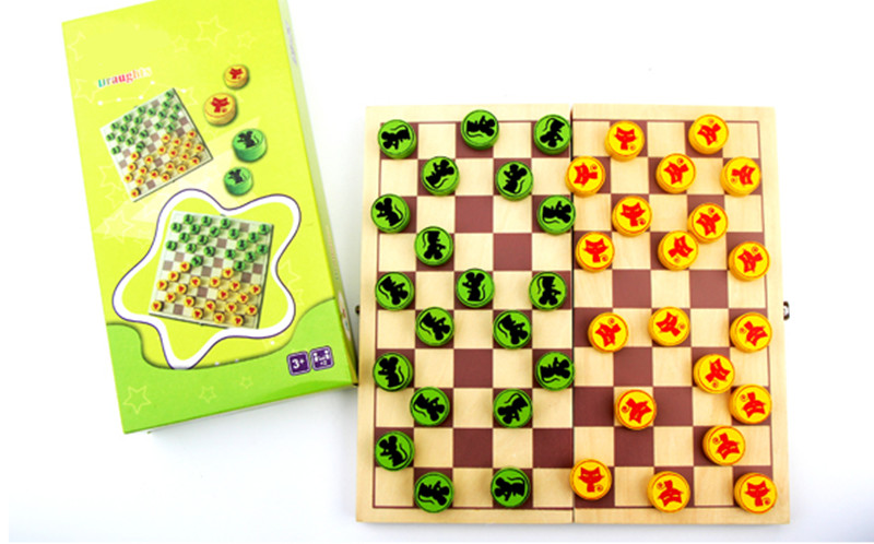New wooden toy baby checkers & chess baby educational toy baby gift baby toy Free shipping