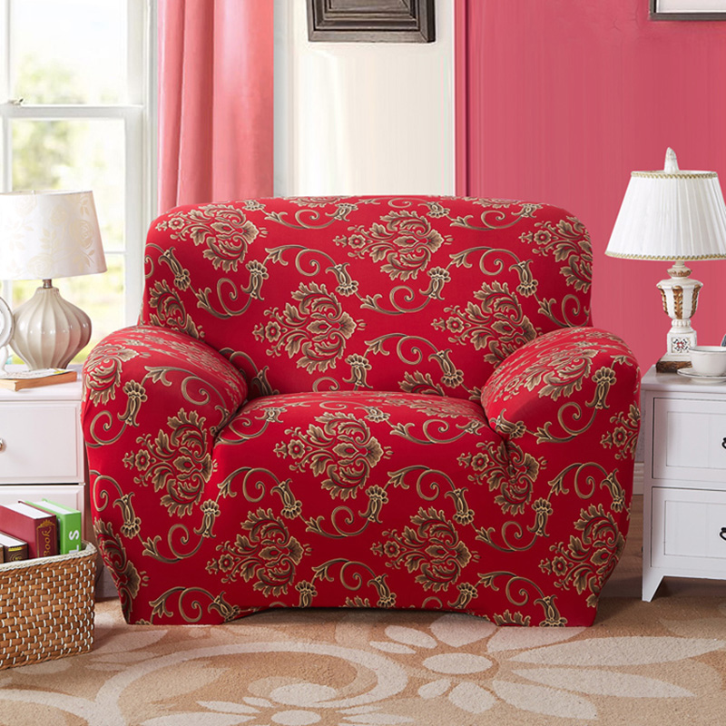 Chinese Style vintage red Sofa Cover Polyester Spandex 2colors Slipcover  Tight All-inclusive Elastic Fabric Flower Sofa Covers