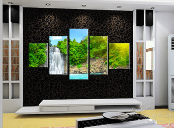 5 Panel Modern Painting Home Decorative Art Picture Paint on Canvas Prints A gift of nature magnificent and beautiful waterfalls