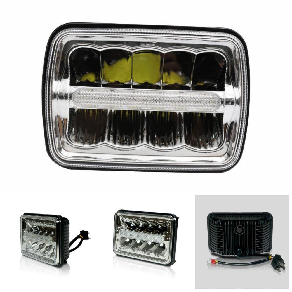 Acheter Carré LED Phares 4x6 DRL et Orange Clignotants Lumière Chrome Réflecteur Scellé Faisceau Remplacement Pour Ford Chevy freightliner de square led headlight fiable fournisseurs