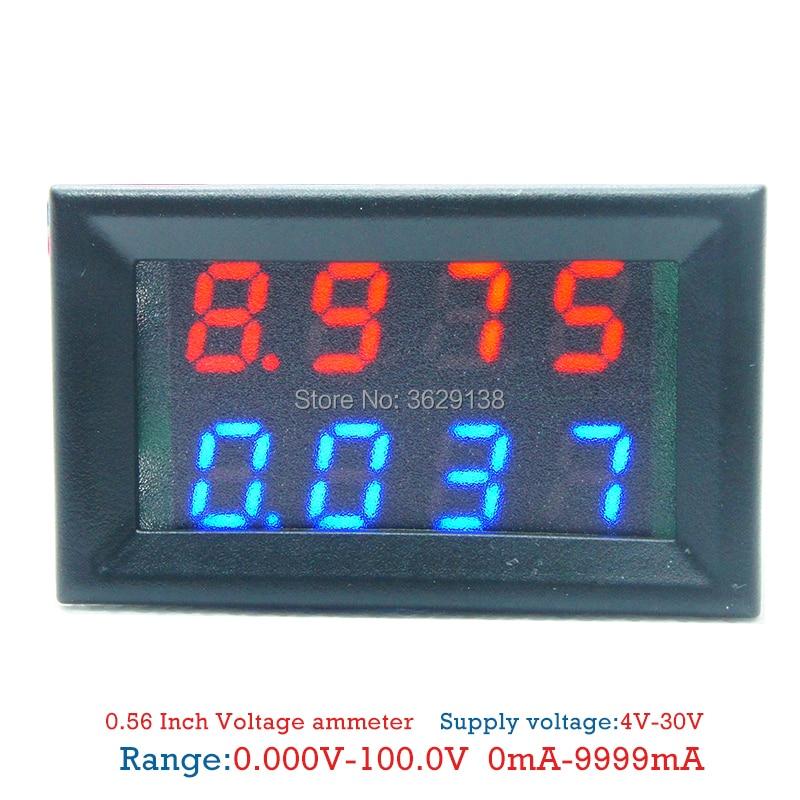 Detective Comics 4.5-30V 100 A Rouge /& Bleu DEL Dual Panel Volt Amp Combo Meter 100A//75mV Shunt