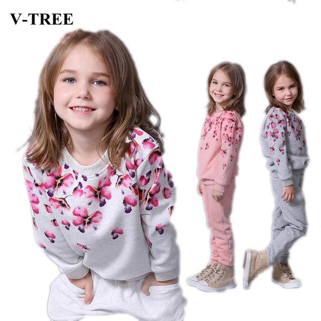 V-TREE Primavera outono conjunto de roupas meninas floral crianças terno conjunto casual two-piece treino terno esporte para menina crianças roupas