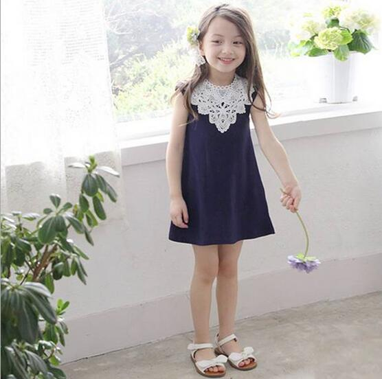 2017 Summer New Arrival Girl Cotton Lace Dress For Kids Children Clothes White Lace Princess