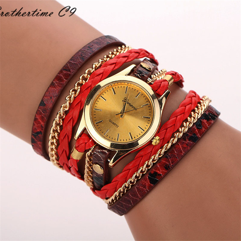 Relojes Mujer 2016 Leather Braided Wrap Bracelet font b Watches b font Women s Fashion Leopard