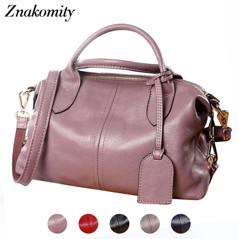 Znakomity Fashion women handbag genuine leather women s leather boston shoulder bag female solid tote hand