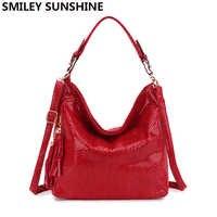 e6073d55bb81 Модные кожаные женские сумки-Хобо женские большие сумки на ремне красные  женские сумки через плечо