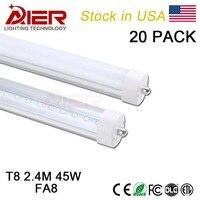 USA stock FA8 singolo pin 8ft ha condotto la luce del tubo 2.4 M 8ft t8 ha condotto il tubo fluorescente di ricambio 45 W, di alta qualità 2017