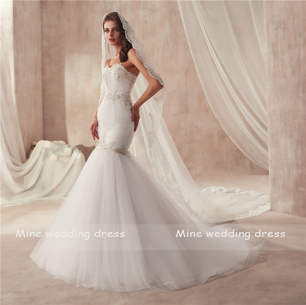 Image 3 - vestido de festa de casamento Strapless Ruched Tulle Slim Sexy Mermaid Wedding Dress with Silver Lace Applique Bridal Gowns-in Wedding Dresses from Weddings & Events