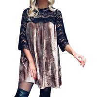Velvet Dress For Woman Round Neck Three Quater Sleeve Splice Mini Dresses Black Lace Pleating Loose