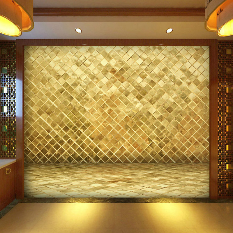 Custom Upscale Atmosphere Lingge Golden Brick 3D Wallpaper for Walls Bedroom 3D Wall Paper Murals Living Room TV Backdrop Hotel