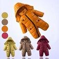 Зима мальчик вниз комбинезон новорожденный девушка с капюшоном snowsuit одежда детские толстые теплые пиджаки вниз пальто Новая детская одежда