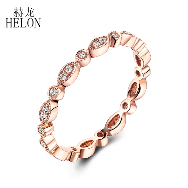 HELON Fine Diamonds Band Solid 14K Rose Gold Pave Bezel Setting Natural Diamond Wedding Ring Art Deco Antique Anniversary BAND