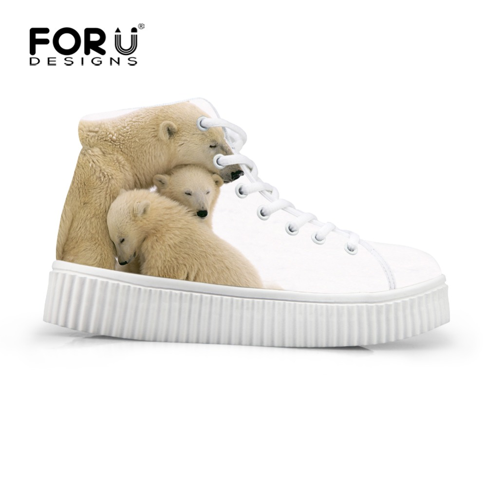 ФОТО FORUDESIGNS New High Quality White Bear Print Shoes Women Platform Fashion Muffin Women's Casual Shoes Brand Ladies High Heels