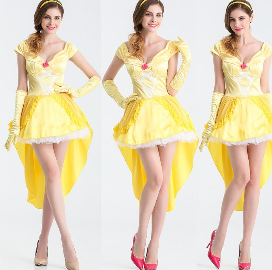 Hot Movie Beauty and The Beast Cosplay Princess Belle Costume for Halloween Party Dress for Women Girl Princess Dresses