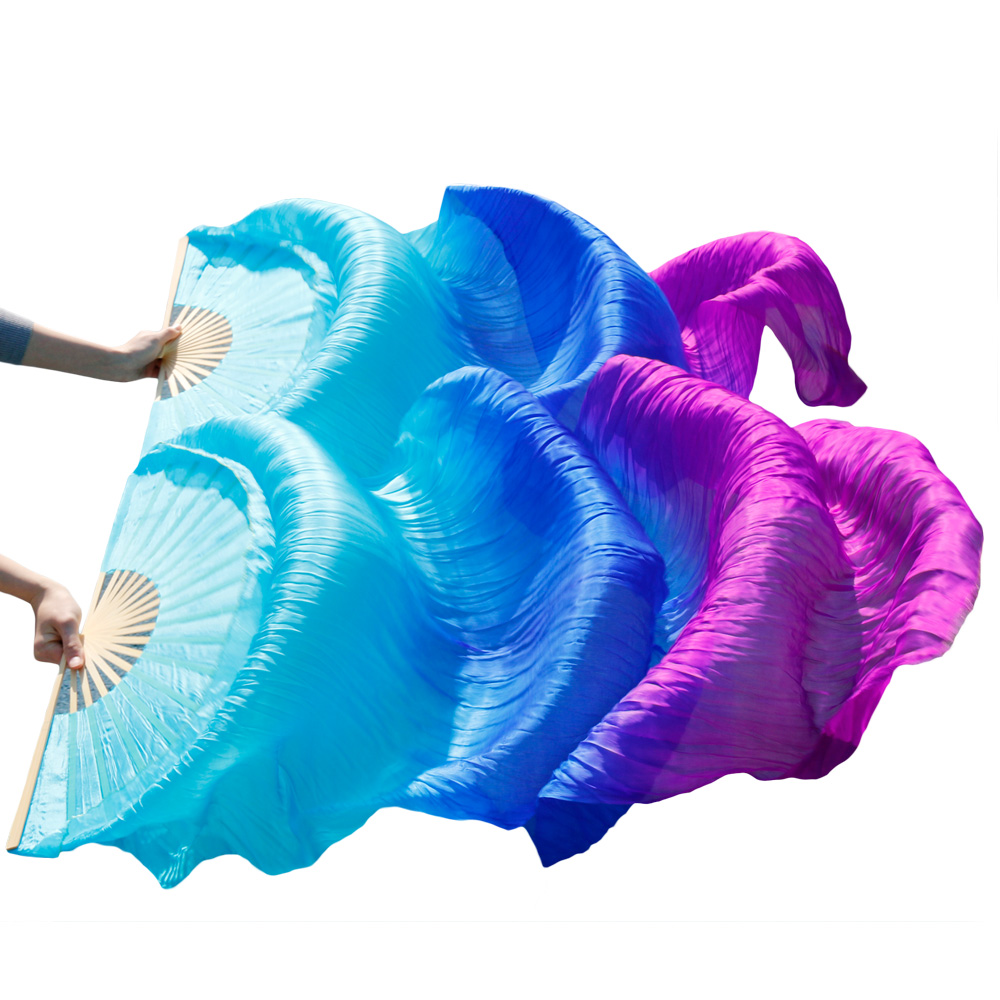 2018 High Quality Silk Belly Dance Fan Dance 100% Real Silk Veils Left+right Hotsale Turquiose+royal Blue+purple