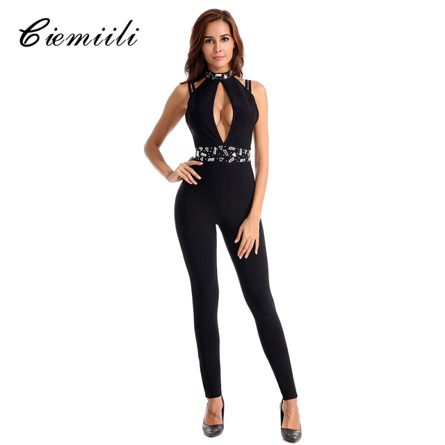 CIEMIILI Sexy Bandage Jumpsuits Rompers Womens 2018 Casual Bodysuits  Evening Party Club Bodycon Hollow Out Playsuits Overalls ac3d93b52