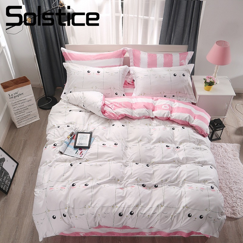 Solstice Home Textile White Lovely Cat Kitty Pink Bed Linens Set Duvet Cover Sheet Pillow Case Girls Kid Teen Bedding Bedclothes