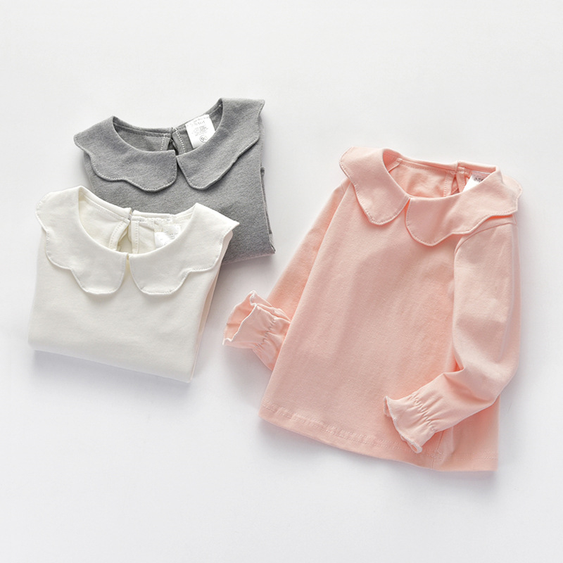 Cheap Kids Basic Blouse Wholesale Kids Clothing Baby Girl Long Sleeve T Shirt Cute Collar Tops Children Autumn Basic Tees fresh style long sleeve shirt collar lemons print blouse for women
