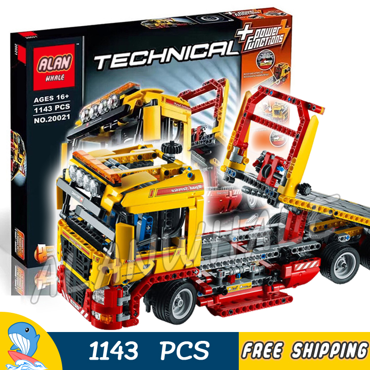 1143pcs 2in1 Techinic Electric Flatbed Truck 20021 DIY Model Building Kit Blocks Transport Car Carrier Toys Compatible With lego 760pcs techinic 2in1 new series
