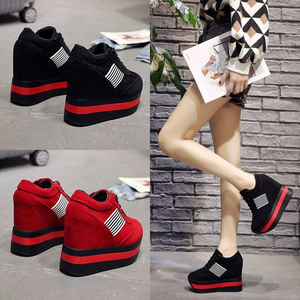Image 5 - 2020 NEW FRESHNESS Platform Women Shoes PU Vulcanized Shoes Height Increasing Pumps Woman Sneakers Wedges High Heels Shoes W309