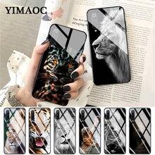 YIMAOC Lion tiger Fashion Lovely Animal Glass Case for Xiaomi Redmi 4X 6A note 5 6 7 Pro Mi 8 9 Lite A1 A2 F1