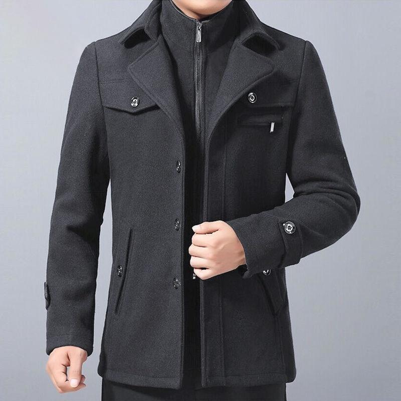 Wool Solid Color Overcoat Woolen Coats Jacket Men 2019 Winter Cardigans Coat Thick Fleece Long Pure Zipper Jackets Windbreaker