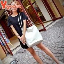 Yogodlns Women Leather Handbags Black Bucket Shoulder Bags Ladies Cross Body Bags Large Capacity Ladies Shopping Bag Bolsa