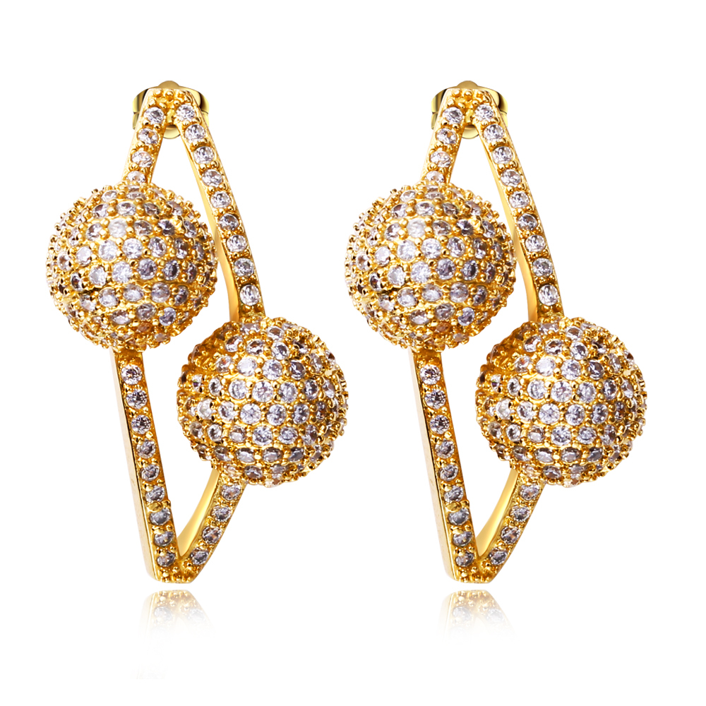 Buy New Design Fine Jewelry Sweet Earrings For Girl Gold Color Plating Cubic