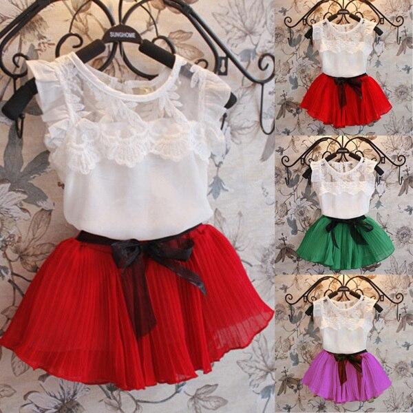 Baby Girls Kids Clothing Sets Chiffon Floral T-shirt+ Bow Skirts Set  Tutu Dress 2-6Y Clothes