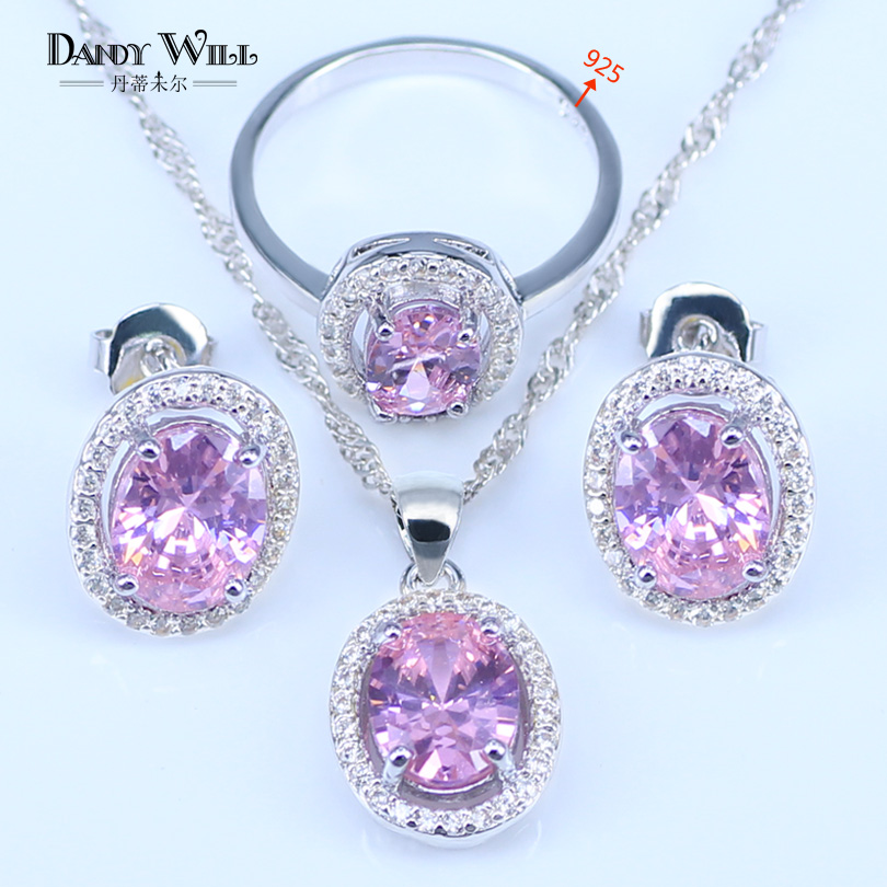 2018 Pink Cubic Zirconia 925 Stamp SilverColor Jewelry Sets Women Wedding Earrings With Stones Pendants&Necklaces Rings