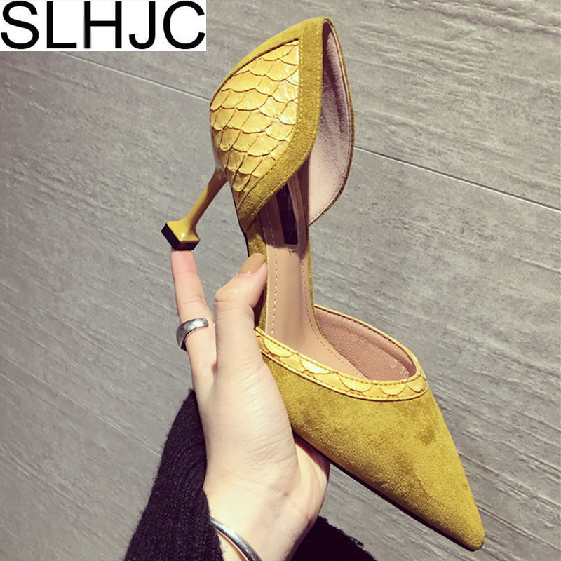 SLHJC Yellow Black Pumps Fashion Lady Spring Summer Shallow Mouth Sexy High Heel Shoes Thin Heel Pointed Toe Party Wedding Pumps 2018 spring summer new women s pumps scrub sheepskin flowers rhinestone coarse high heel shallow mouth craft shoes