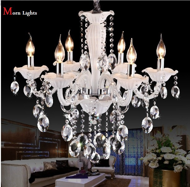 White Chandelier Crystal Lighting Modern Crystal Chandelier Living Room Light