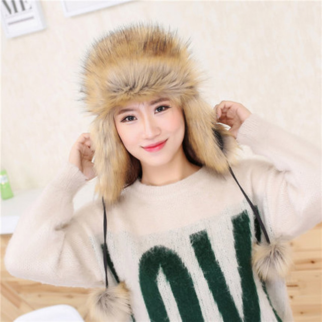 2017 New Fashion Winter Warm Caps Faux Fox Fur Hat Fake Fox Fur Hats For Women Men Beanies