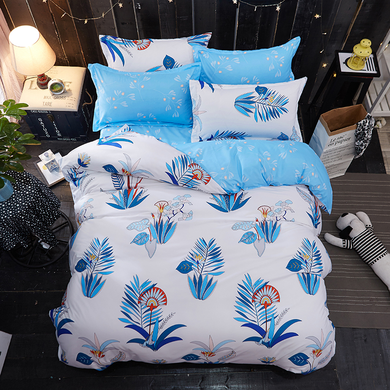 Blue white bedding set leaf duvet cover set green leaf bed flat sheet modern bed linen bedclothes homeBlue white bedding set leaf duvet cover set green leaf bed flat sheet modern bed linen bedclothes home