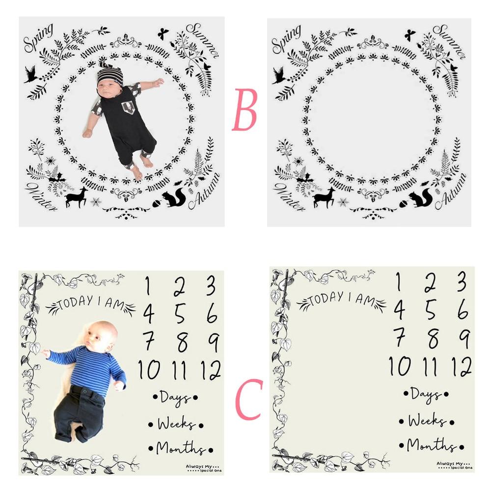 Baby Monthly Growth Swaddling Milestone Blanket Calendar Photography Cloth Photo Background Cloth Photography Backdrop Fabrics