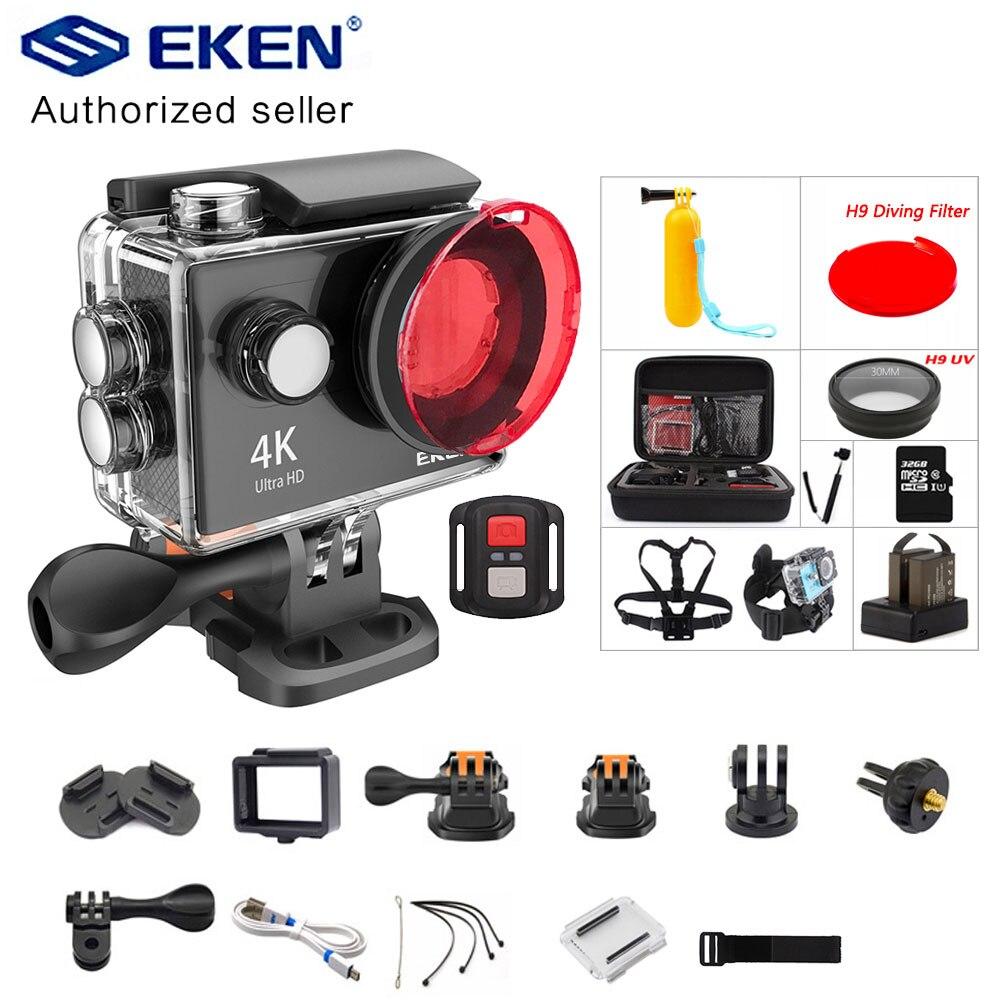 Eken h9 câmera de ação h9r wifi 4 k/30fps 1080 p/60fps 720 p/120fps ultra hd mini câmera subaquática à prova dunderwater água vídeo esportes câmera
