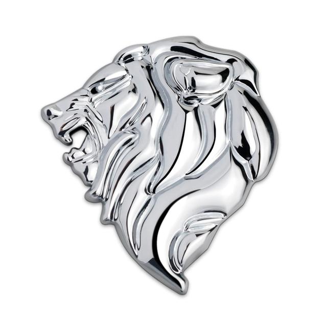 Chrome Metal Lion Head 3D Emblem Totem Badge Car-Styling Car Body Sticker Power Symbol