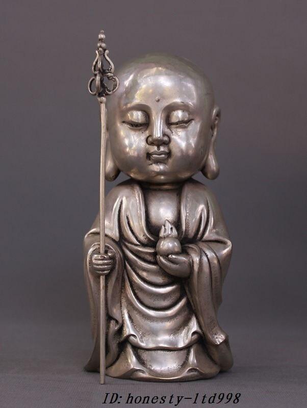 Tibet Tibetan Buddhism Temple Silver Jizo Ksitigarbha Bodhisattva Buddha StatueTibet Tibetan Buddhism Temple Silver Jizo Ksitigarbha Bodhisattva Buddha Statue
