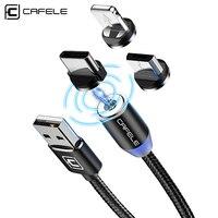 Caja protectora Cafele LED de 200cm Cable USB magnético imán macho + USB-C Cable + Micro USB Cable + Cable USB para iPhone 7 6X8 Plus 5S SE