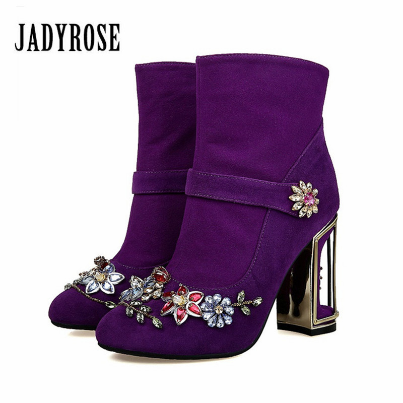 Jady Rose Purple Suede Ankle Boots for Women Fashion Birdcage High Heel Boot Rhinestone Decor Botas MujerFemale High Boots