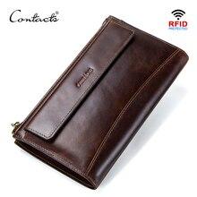 CONTACTS cartera de mano de piel auténtica anti RFID para hombre, billetera larga informal de alta capacidad, portatarjetas, carteras masculinas