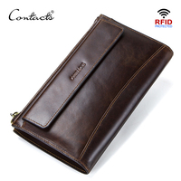CONTACT'S men clutch RFID genuine leather man's long wallet casual high capacity multi card holder male wallets porte carte bags|Wallets| |  -